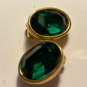 Givenchy Faux Emerald Gold Tone Clip On Earrings